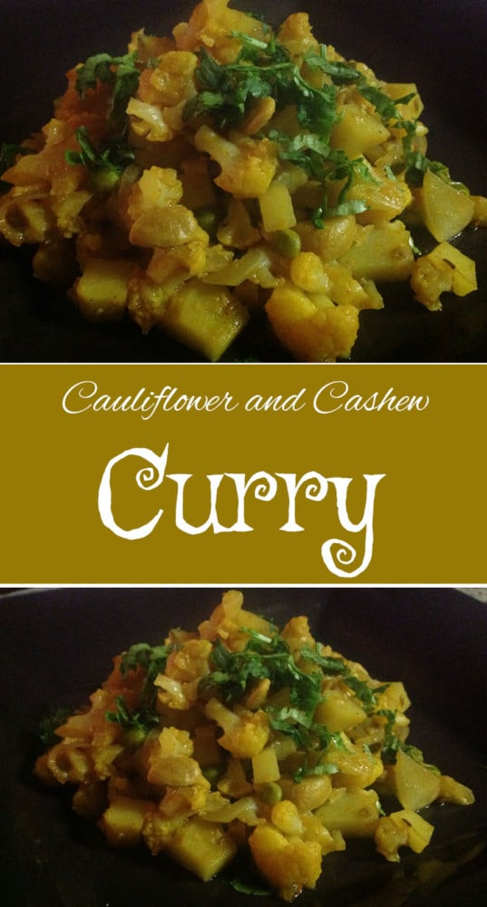 Cauliflower curry with cashews - This is a quick and simple recipe for dinner. Serve with Naan and rice. Lo-carb vegan recipe that you can serve for any meal