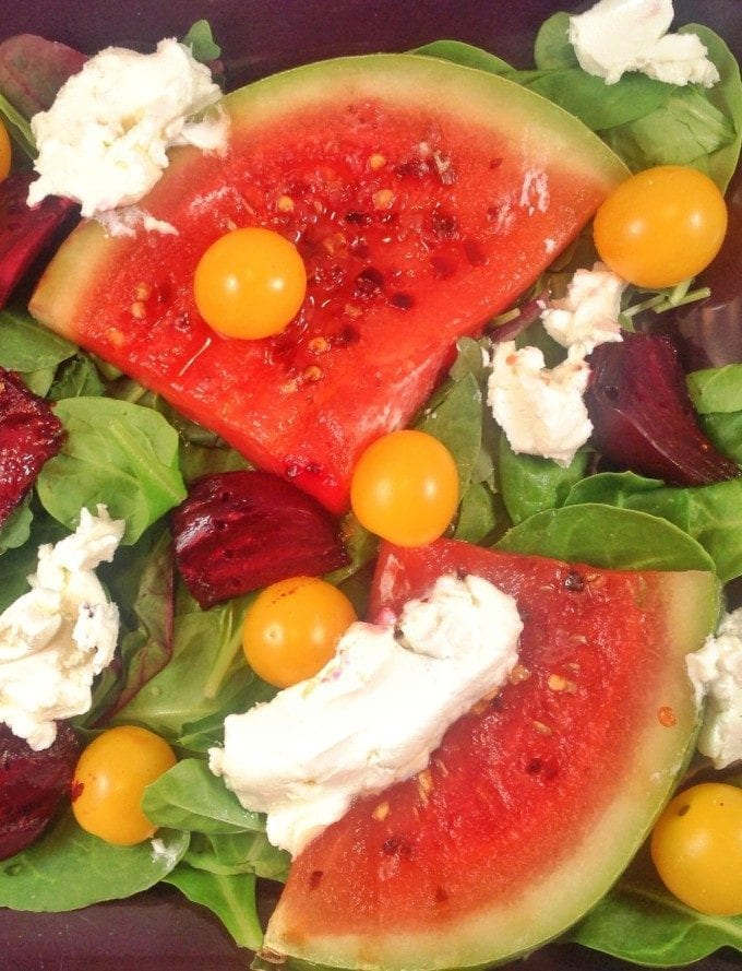 Grilled Watermelon Salad with Goat Cheese and Beets. Fun summer salad that is quick and easy to make. Perfect lunch time meal