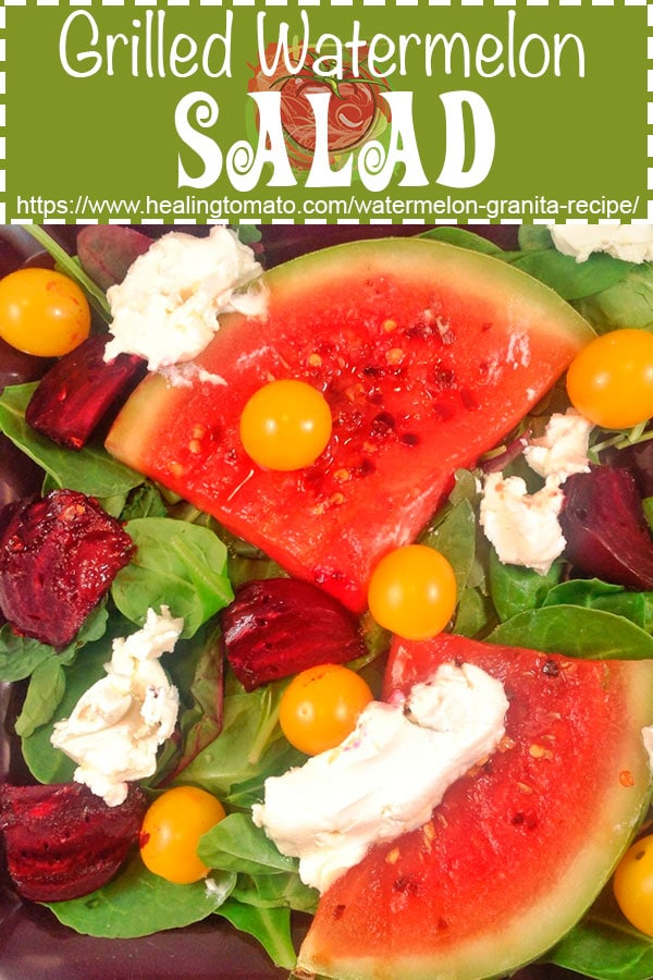 Summer Grilled watermelon salad recipe made with goat cheese and cherry tomatoes and balsamic dressing #healingtomato #watermelon https://www.healingtomato.com/grilled-watermelon-salad-with-goat-cheese-and-beets/