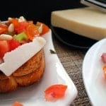 Bruschetta made with different tomato varieties. This Italian staple is very easy to make a favorite among vegetarians