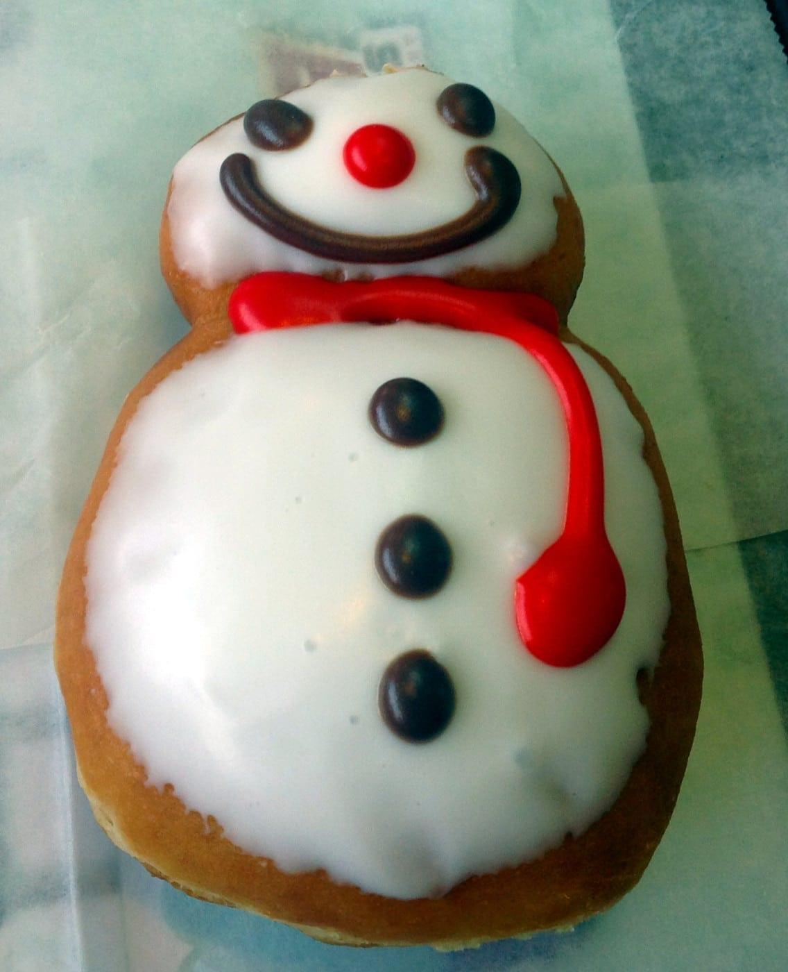 Doughnut Tasting at Krispy Kreme - Snowman