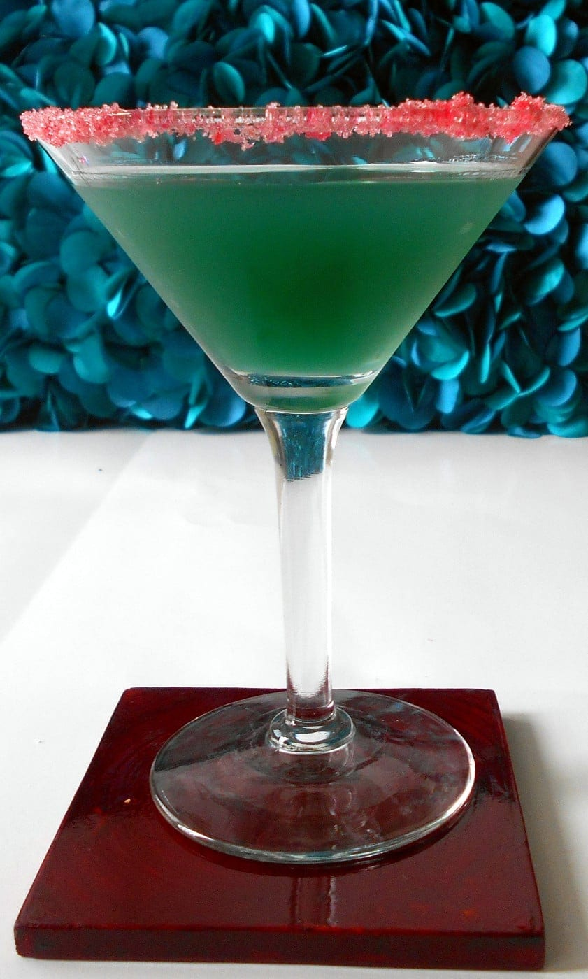 Front view of a green martini glass