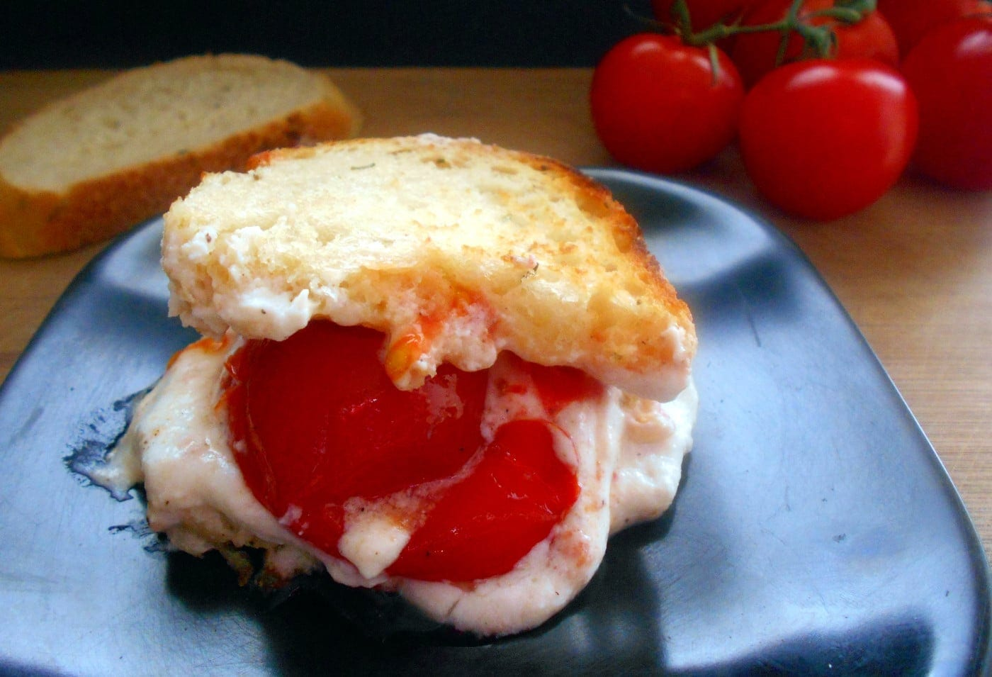 Front view of a grilled cheese sandwich with ricotta and roasted campari tomatoes - grilled cheese sandwich