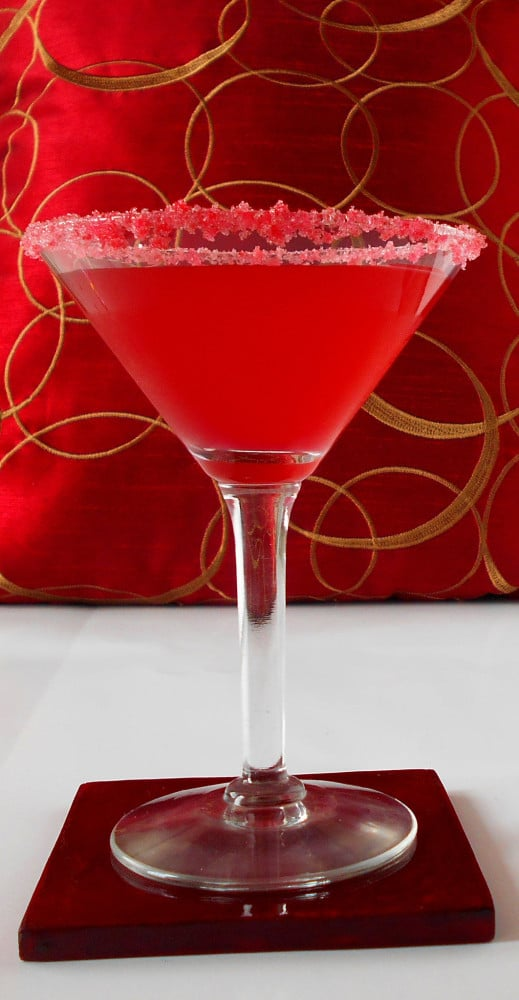 Front view of a pink martini glass