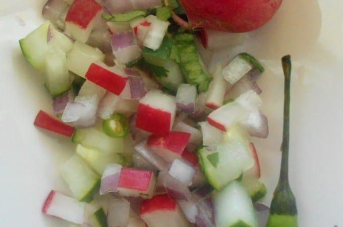 A quick Cucumber salsa recipe made with cucumber, radishes, onions, Thai chili and lemon