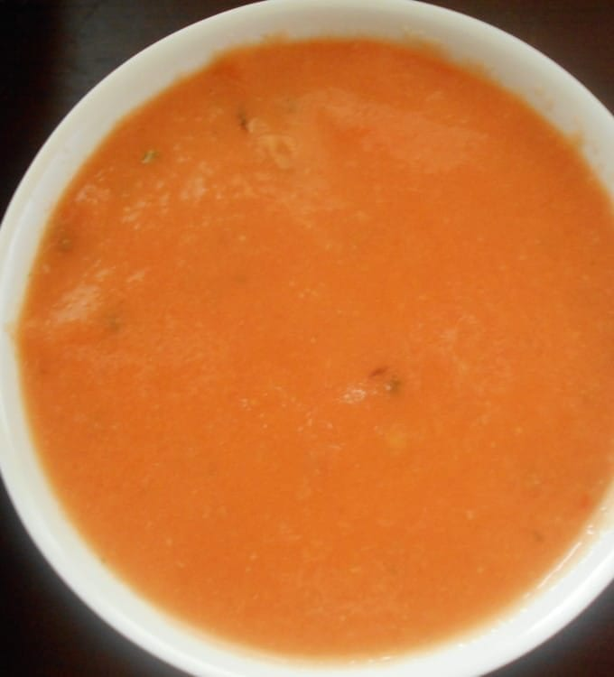 Vegetarian Tomato Soup made with fresh tomatoes that are roasted in the oven. Takes only 20 minutes to make. Perfect comforting soup recipe for any day.