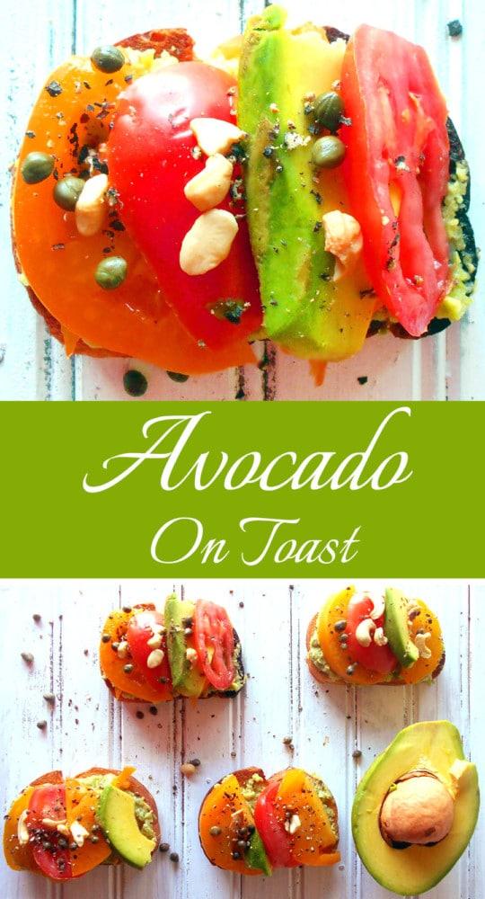 Avocado toast made with Pina Colada Guacamole, tomatoes and capers. This is perfect if you are looking for a quick brunch meal or a quick snack.