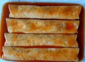 vegetarian enchilada before cheese