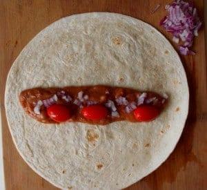 vegetarian enchilada before fold