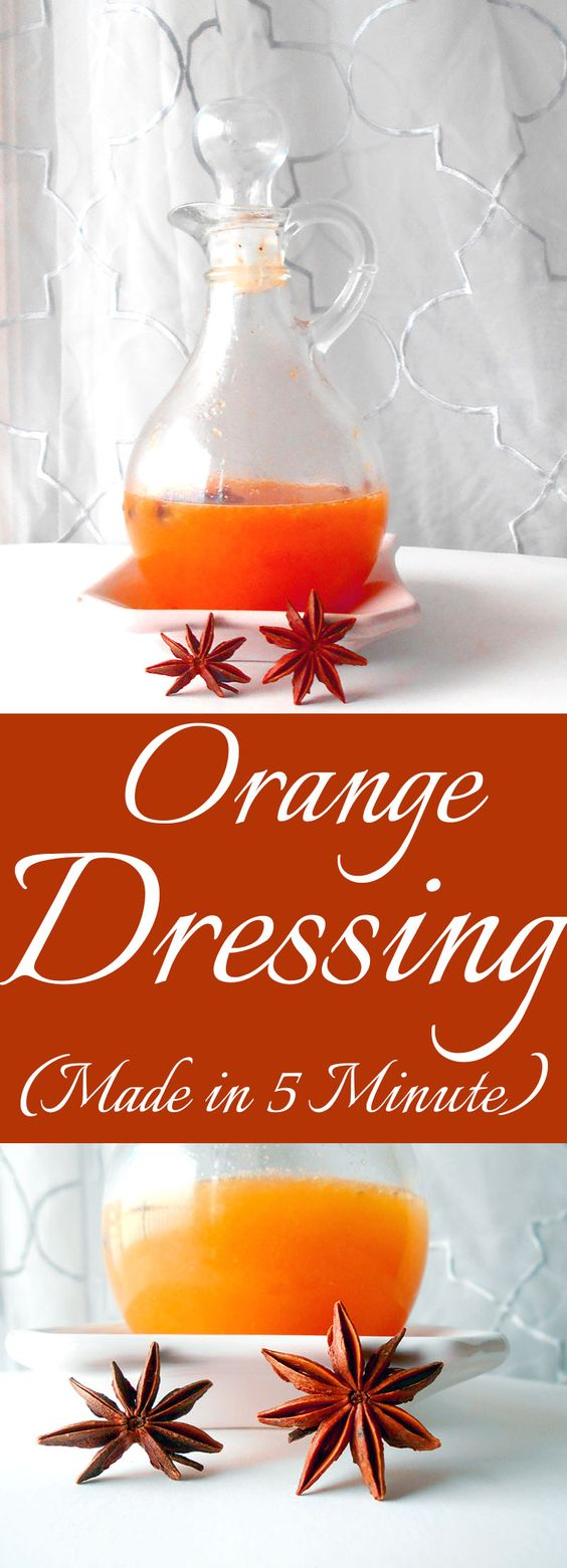 Orange Dressing - A very fragrant and delicious salad dressing. Use Star Anise and fresh squeezed orange juice to make this orange dressing. Takes less than five minutes #dressings #fruitdressings #homemadedressings Homemade Dressings, Orange Salad Dressings, Star Anise recipes