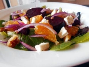 Beet Salad made with roasted beets, oranges, spinach and feta cheese