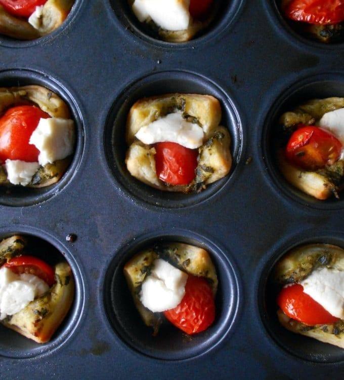 Caprese Salad Bites In Puff Pastry