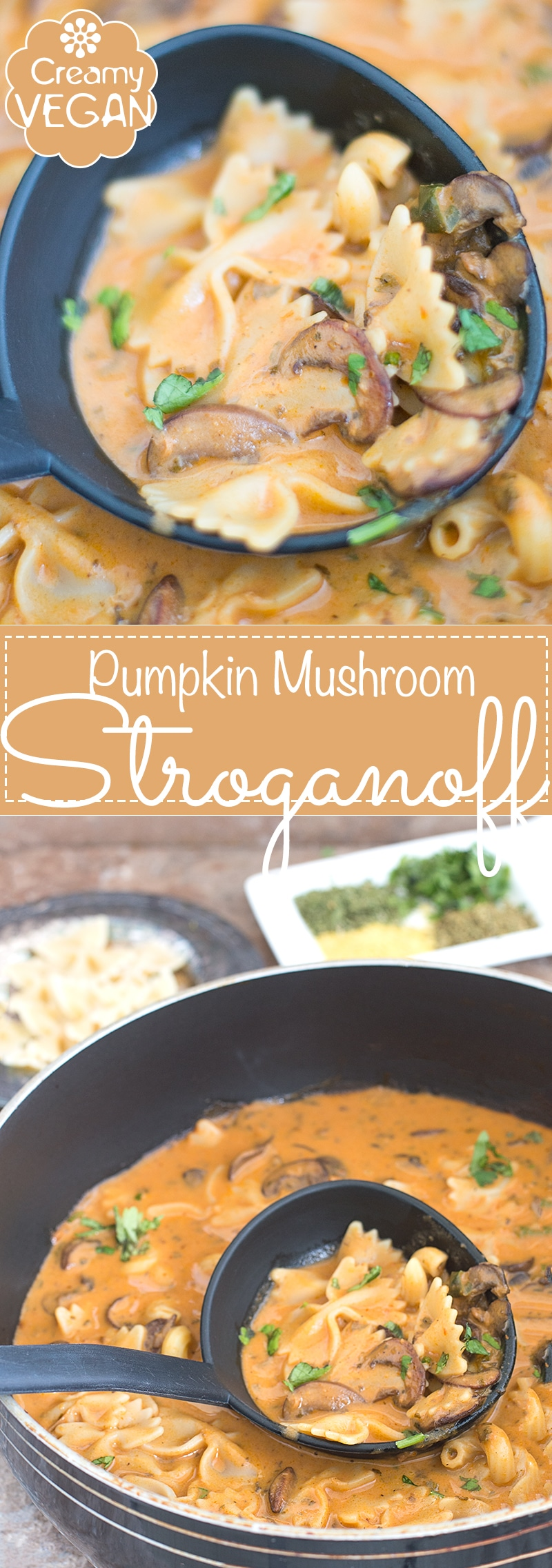 Vegan Creamy Mushroom Stroganoff made with Pumpkin Puree and Coconut Milk. This is the Perfect Weeknight Dinner Recipe. Add Rice or Pasta and Make this a Hearty Recipe. Made in Under 30 Minutes   easy vegan dinner, weeknight favorite, comfort food, family dinner