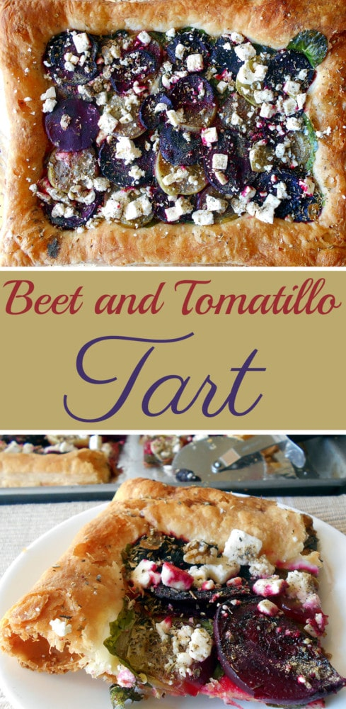 This savory beet tart is made with roasted beets, tomatillos and feta cheese. Has baby spinach too. Great appetizer for any occasion. I like it just as much as pizza