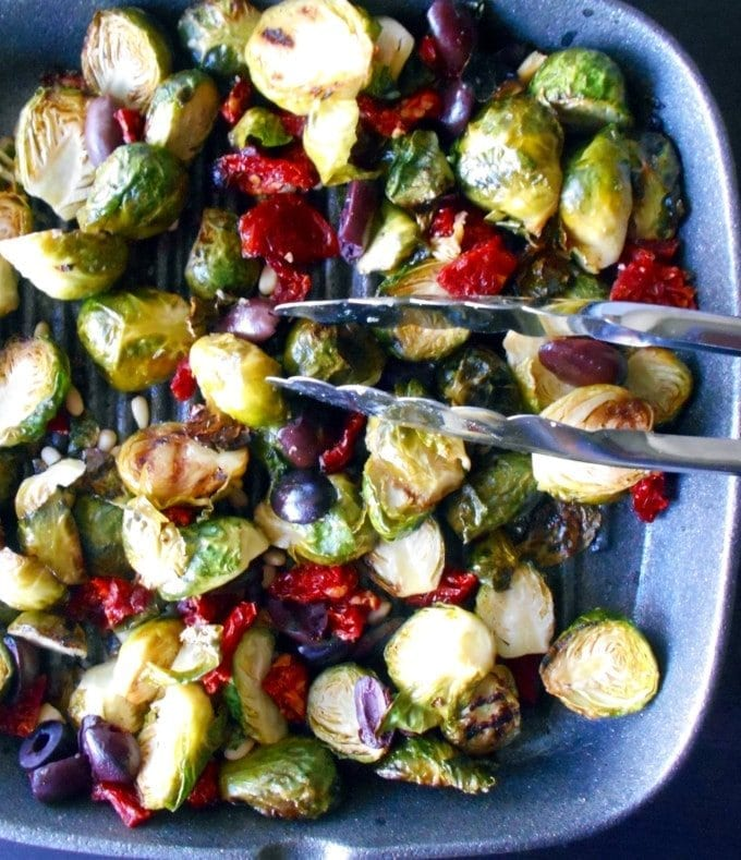 Brussels Sprouts made with Mediterranean flavors and spices. Perfect light and healthy lunch recipe. It is perfect for those that are fans of the Mediterranean diet. Vegan Greek Recipes
