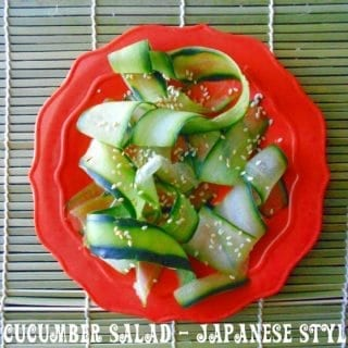 Overhead of strips of cucumber with sesame