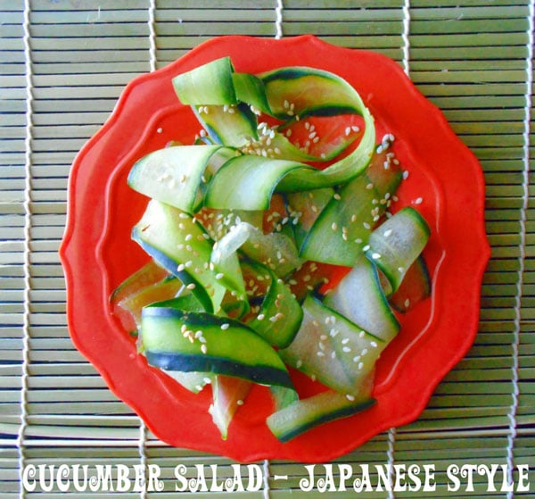 Overhead of strips of cucumber with sesame - Cucumber Salad