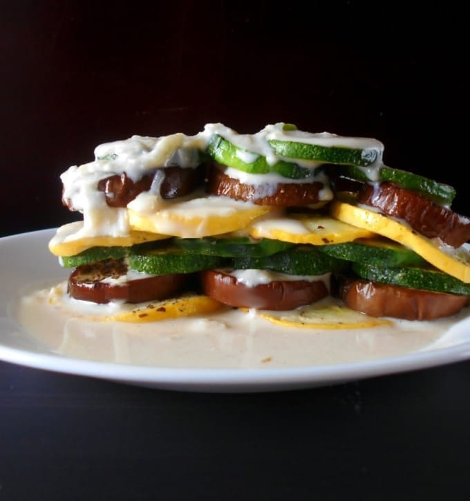 Ratatouille Stack made with fresh veggies and topped with soubise sauce. Quick and easy to make.