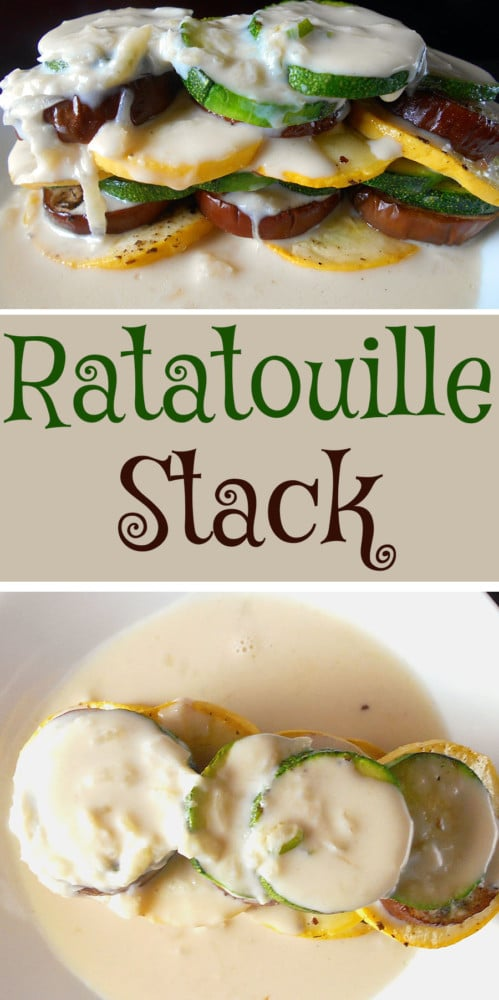 Ratatouille Stack made with fresh squash (Yellow and Green), Eggplants. Topped with Souibise sauce. Quick and simple to make. Fun way to eat vegetables