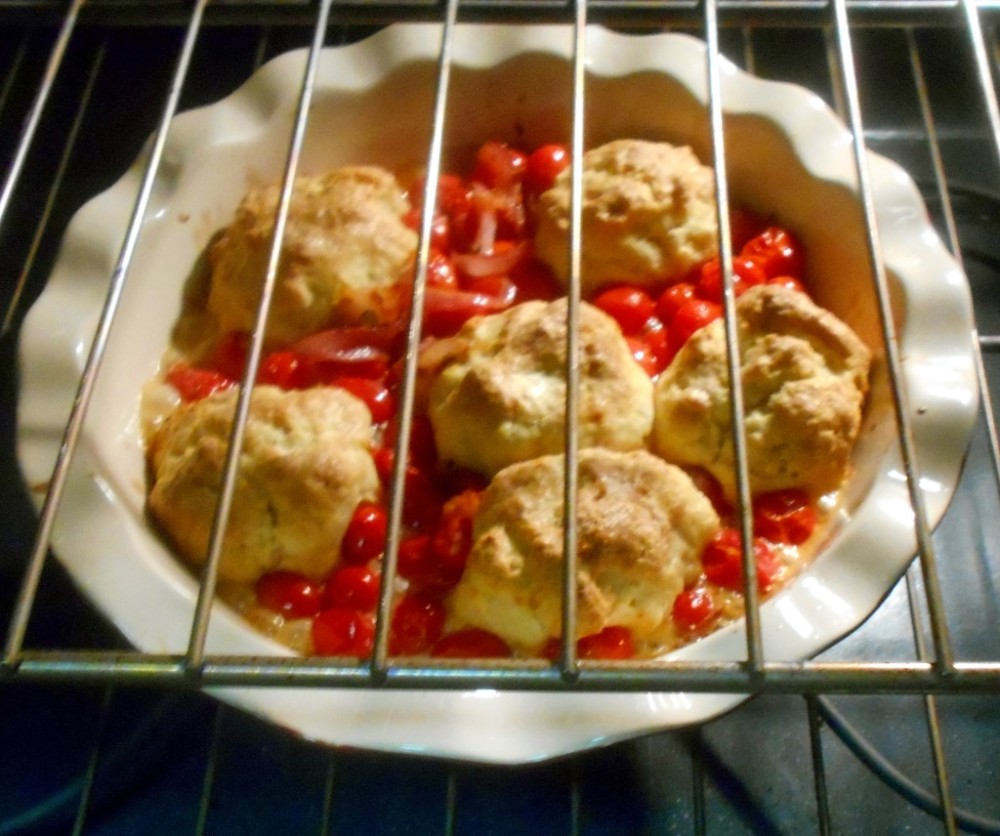 View of Tomto cobbler in the oven