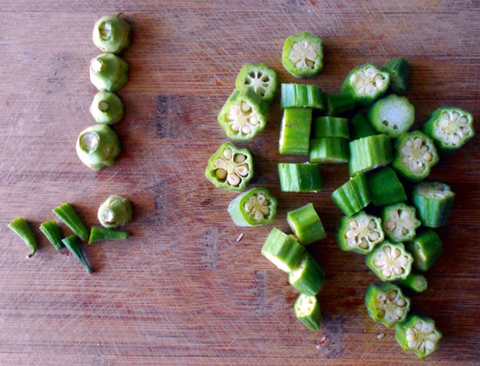 Cut Okra on a Chopping board