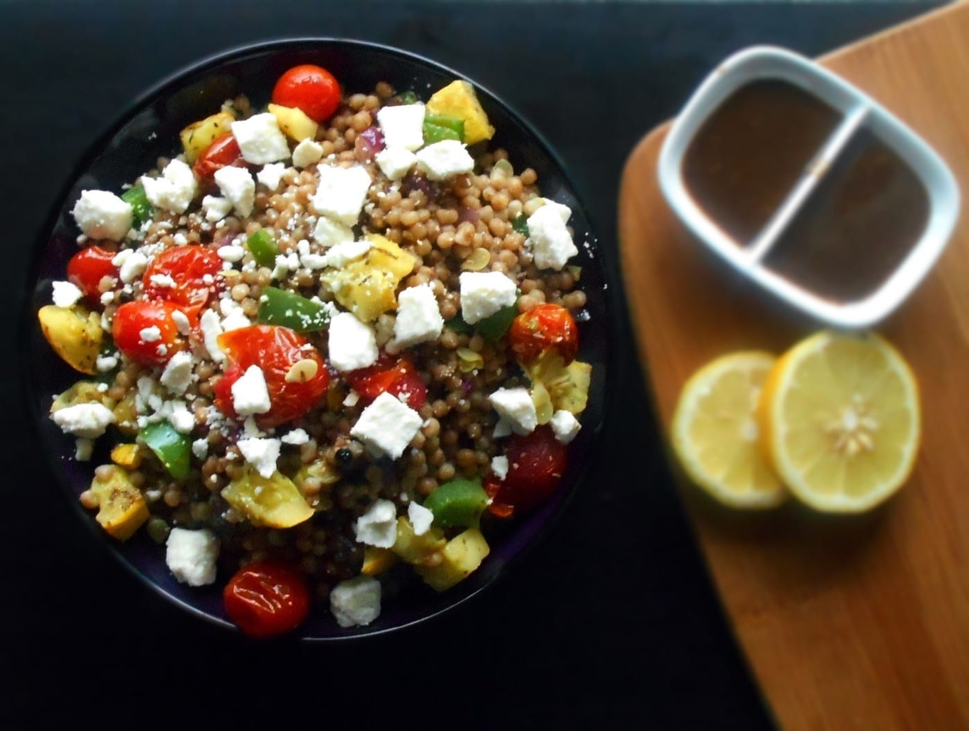 Mediterranean Couscous Salad. Healthy dinner recipe. Made with fresh veggies and light dressing. Couscous recipe that is easy to make