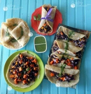 Mexican Crepe Tacos that are vegan and gluten-free. Made with Sweet potatoes, black beans and coriander chutney