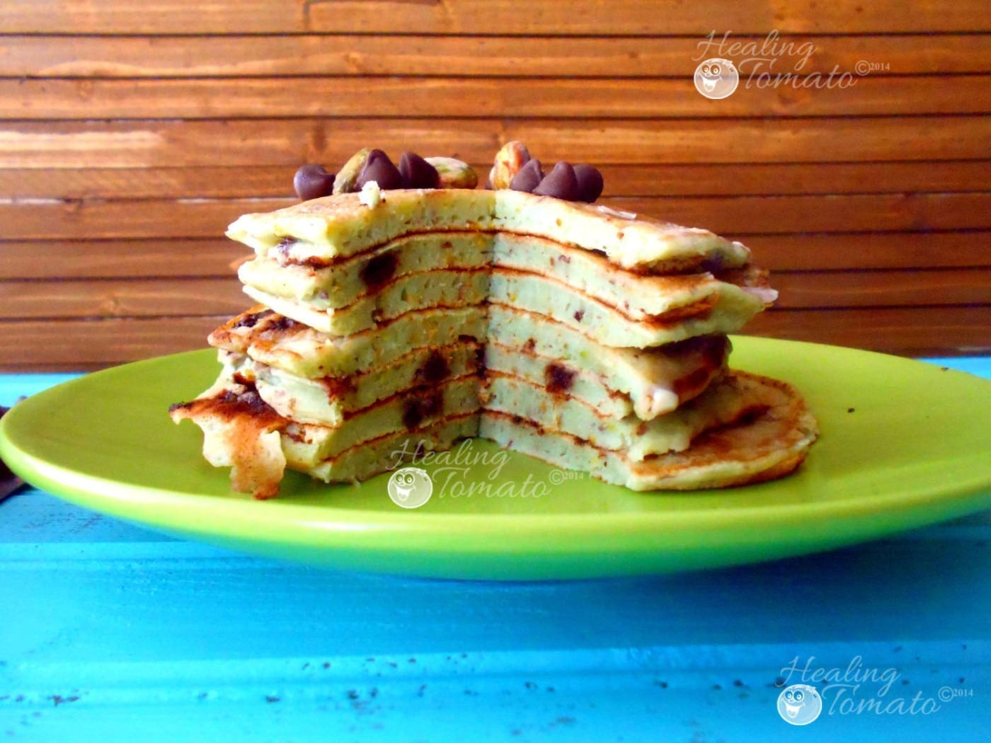 Front view of a section of a stack of vegan chocolate chip pancakes