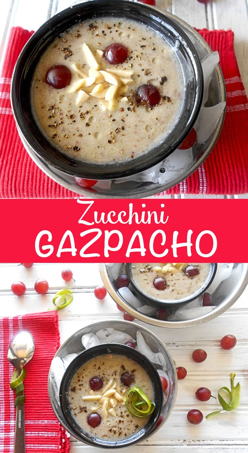 Vegan Gazpacho recipe with Zucchini, Grapes and Almonds. It is the perfect cold soup to serve on a hot summer day! Add black pepper for a little spice.