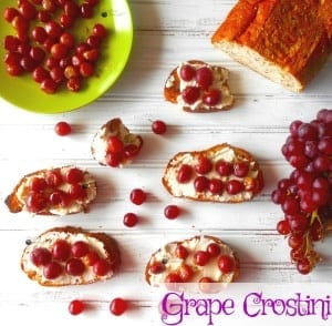 Grape Crostini - Grapes roasted to bring out its natural juice. Roasted with Thyme. Served over Italian bread.
