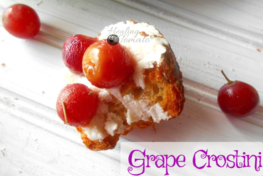 Closeup view of a grape crostini