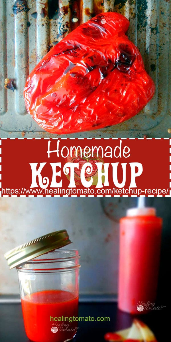 Homemade Ketchup recipe.  DIY Ketchup recipe.  Low carb ketchup.  Vegan ketchup recipe made with fresh tomato. #ketchup #vegan #homemade #diy #recipe #lowcarb #veganrecipes #healthy #nopreservatives https://www.healingtomato.com/ketchup-recipe/