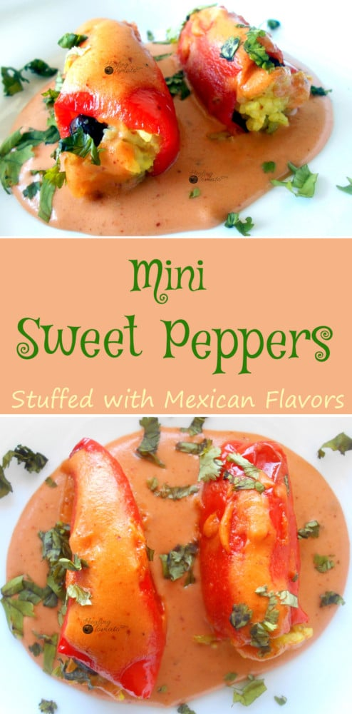 This is my favorite vegan tapas recipe. Also, Gluten Free The Mini sweet peppers are stuffed with Yellow rice, black beans taco seasoning. Topped with creamy Gluten free enchilada sauce.