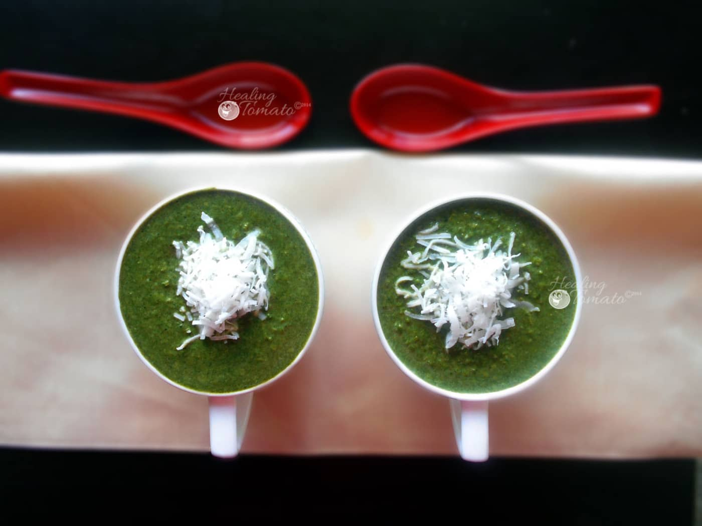 Spinach Soup with Coconut and Corn. This flavorsome and hearty soup is made with spinach, coconut and corn. Vegetarian's delight