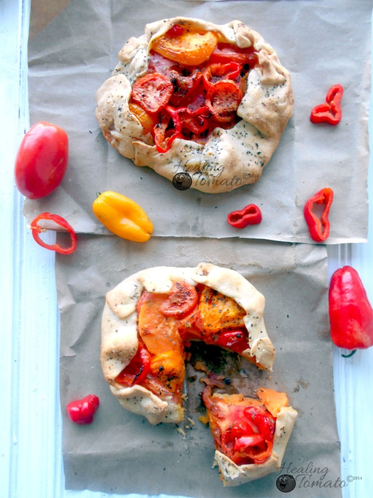 Tomato Galette with Sweet Potatoes and Mini Sweet Peppers