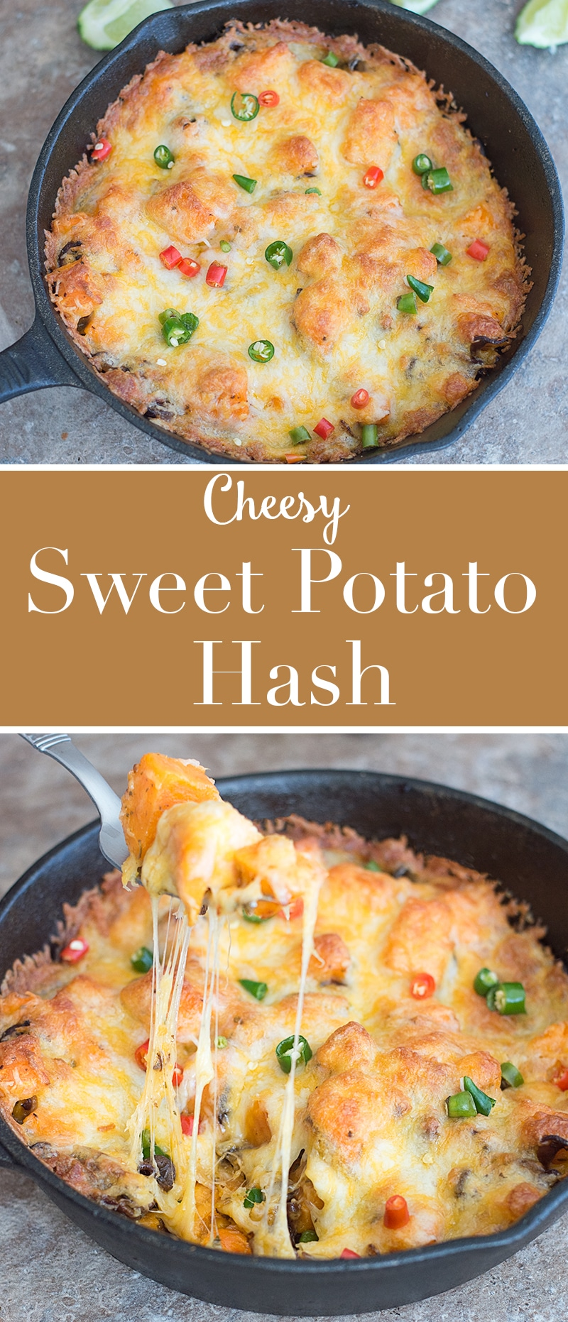 Hearty and cheesy cast iron sweet potato hash recipe that is the perfect comfort food recipe. Made with mushrooms, bell peppers and topped with cheese