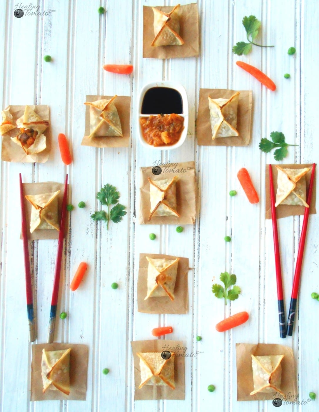 Overhead view of samosa wontons on a flat surface