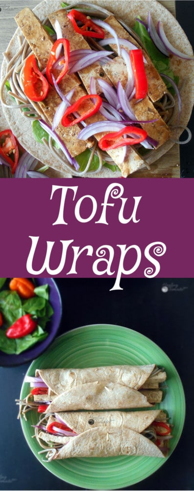 Vegan Tofu Wraps made with Tofu marinated in Peanut sauce. Quick snack idea, Healthy recipe. If you are looking for an easy dinner or easy lunch recipe, this is a perfect vegetarian recipe for you.