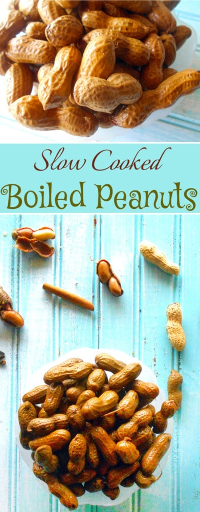 Slow Cooked Boiled Peanuts easy recipe using holiday ingredients like cinnamon, star anise and cloves. Fun appetizer & snack for your guests. Set it and forget. That is how easy this appetizer is to make.