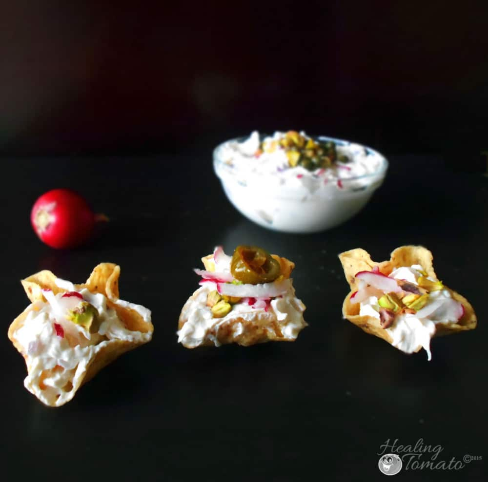 front view of Radish dip in scoop chips
