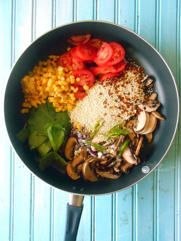 One Pot Healthy Dinner - Quinoa made in one pan with Mexican flavors. Perfect family meal. Quick and healthy dinner meal