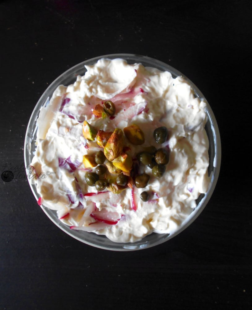 Overhead view of radish dip in a small bowl
