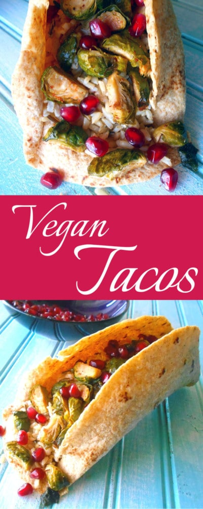 Vegan Tacos - Dinner doesn't get any simpler than this vegan taco recipe. Made with Brown rice, pomegranate, Brussels sprouts and a homemade apple salsa. Taco shells made at home. This is a low-carb recipe that can work great as a post workout snack