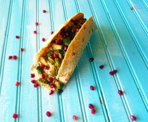 Vegan Tacos made with brown rice, brussel sprouts and pomegranate. Healthy, Quick lunch or dinner recipe.