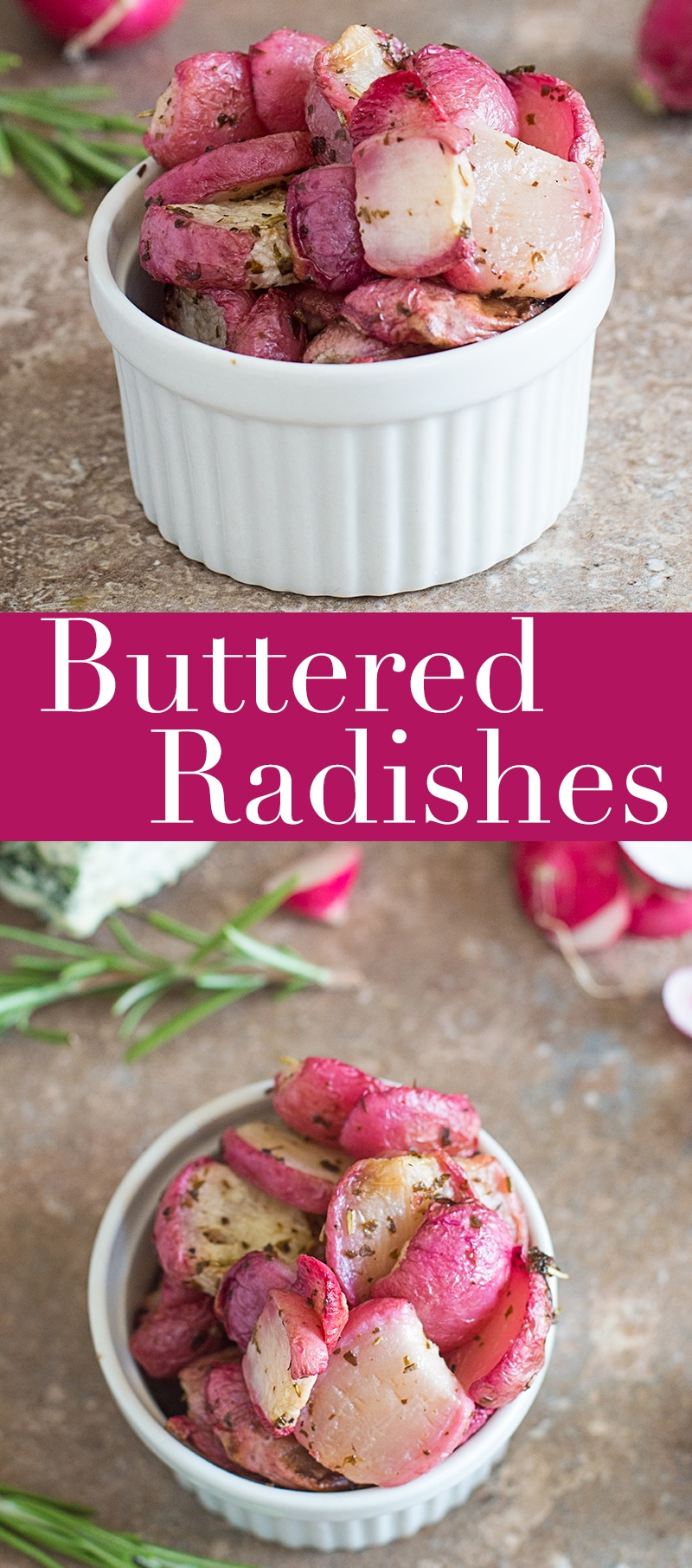 Buttered Radishes are the perfect snack recipe for any day of the week. Using basil infused vegan butter, these radishes can be used as salad toppings or eaten right out the baking tray!