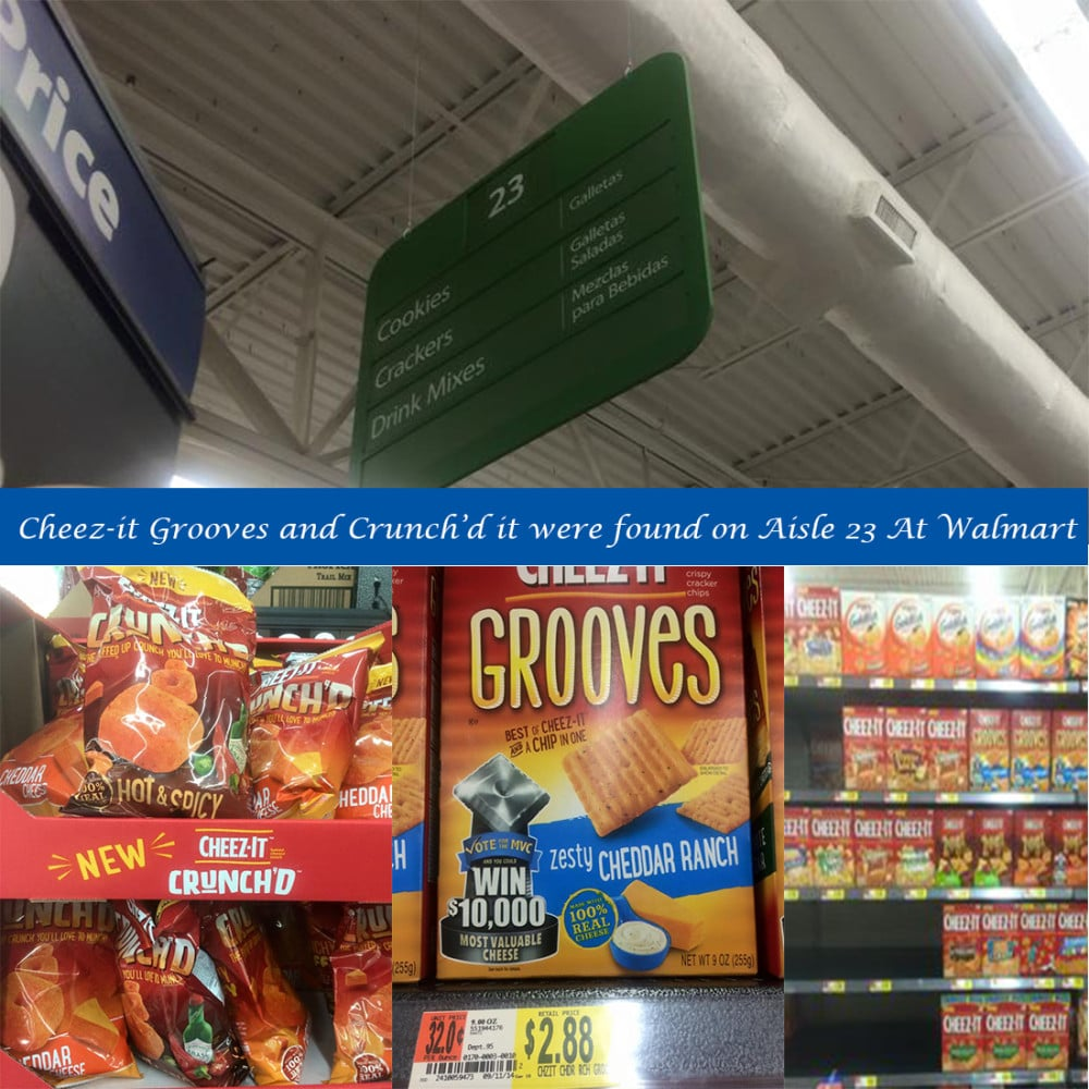 Images of aisle where the cheez-it and Grooves can be found in the grocery store