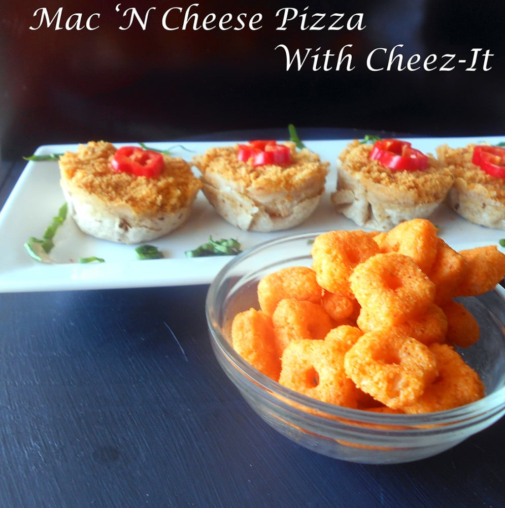 Front view of Mini Mac N Cheese Pizza