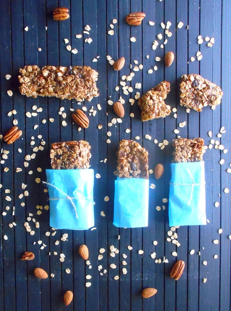 Homemade Granola Bars with Nuts, Rolled Oats, Raisins, Almonds, Caramel Bits, Flax Seed Meal and Chocolate Chips
