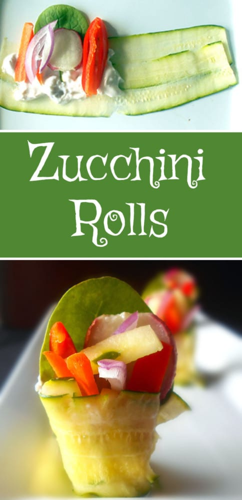 Zucchini Rolls - These rolls are super easy and are great appetizers! They are also low carb and vegan using vegan yogurt.