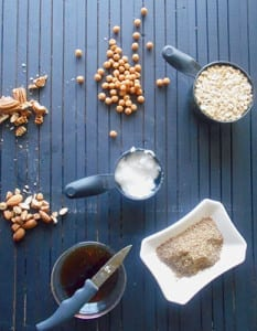 Overhead view of all the ingredients used to make homemade granola bars